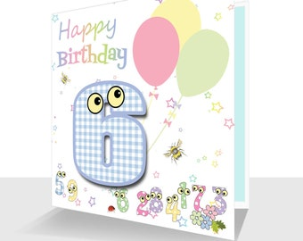 Colourful 6th Birthday Card- Hand Finished - Kids Birthday Card, Children's Sixth Birthday The Number People-Personalised Option