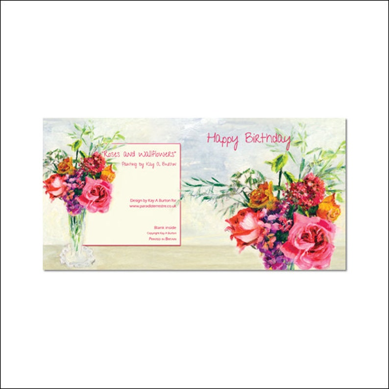 Roses Birthday Card And Wallflowers Floral Greeting