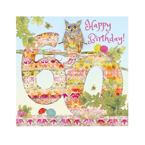 Happy 60th Birthday Card Owl Knitting Fine Art Blank