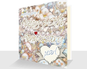 30th Anniversary Card Pearl Anniversary Card UK  Personalised Option 30 years 30th Anniversary card for him 30th Anniversary card her