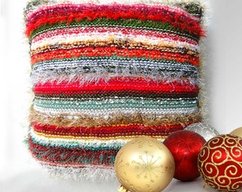 Luxury Decorative Christmas Cushion 17″(44cm) square - Hand Made Scatter Cushion with Red Velvet Back Unique Designer Xmas Accent Cushion