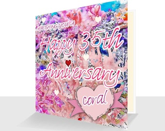 35th Anniversary Card Coral Anniversary Card UK  Personalised Option 35 years 35th Anniversary card for him 35th Anniversary card her