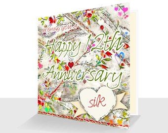 12th Anniversary Card: Silk Anniversary Twelfth Wedding Anniversary Personalised Option-Handmade Card for Her or Him