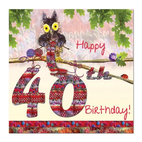 Happy 40th Birthday Card Owl Knitting Fine Art Blank