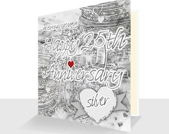 25th Anniversary Card Silverl Anniversary Card UK  Personalised Option 25 years 25th Anniversary card for him 25th Anniversary card her