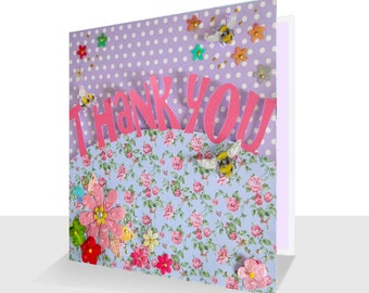 Unique Thank You Card Luxury 3d Design with Bees Personalised Option Luxury Floral Thank you Thank you Teacher