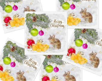 Cute Mouse & Cheese  Christmas Cards 6 pack- Single Card Option Watercolour and Ink Artist Cards  Handcrafted: Not on the high street