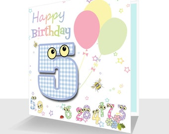 Colourful 5th Birthday Card- Hand Finished - Kids Birthday Card, Children's Fifth Birthday The Number People-Personalised Option