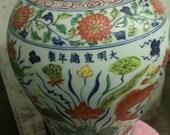 Fine Chinese Antique Ming Dynasty Xuan De 明代 Five Colours Porcelain Fish Vase