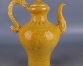 Big Beautiful Chinese Antique Old Ming Dynasty Hong Zhi Emperor 明代弘治 Yellow Glazed Porcelain Hand painting Dragon Teapot