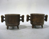 Unique Beautiful Chinese Antique Pair of Da Qing Qian Long Old Copper Bronze Censer With Hand Shank Pattern