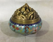 Beautiful Chinese Antique Old Copper Bronze Cloisonne Censer