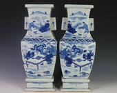Pair of Beautiful Chinese Antique Qing Blue White Porcelain Figure Vase