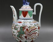 Beautiful Old Chinese Antique Ming Dynasty 大明宣德 Five Colours Porcelain Phoenix Teapot