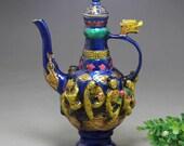 Fine Old Chinese Antique Da Ming Xuan De 大明宣德 Copper Bronze colour enamels Teapot