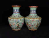 A Pair Beautiful Chinese Antique Old Ming Dynasty Qian Long Emperor 清代乾隆 Famille Rose Porcelain Hand painting Flowers Plants Vase
