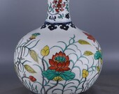 Big Beautiful Chinese Antique Old Ming Dynasty Xuan De Emperor 明代宣德 Dou Polychrome Porcelain Hand painting lotus Globular Shape Vase