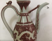Beautiful Old Chinese Antique Ming Dynasty 大明宣德Underglaze Red Porcelain Dragon Teapot