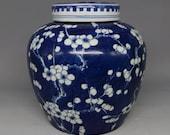 A Fine Chinese Antique Qing Blue White Porcelai Plum Blossom Cover Pot