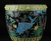 Big Beautiful Chinese Antique Old Ming Dynasty Jia Jing Emperor明代嘉靖 Faffa color Porcelain Hand painting Fish Crock
