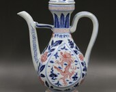 Beautiful Old Chinese Antique Ming Dynasty 大明宣德 Blue White Porcelain Dragon Teapot