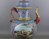 Rare Big Chinese Antique Old Qing Dynasty Yong Zheng Emperor 清代雍正 Enamel Porcelain Figure Teapot