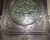 One Eminent Chinese Antique Oriental Handicraft Old JasperCarved Screen With Dragon Pattern