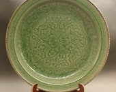 Big Fine Chinese Antique Song Dynasty 宋代 Long Quan Porcelain Flowers Plants Plate