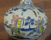Fine Chinese Antique Ming Dynasty Xuan De 明代 Famille Rose Porcelain Figure Globular Shape Vase
