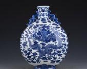 Big Chinese Antique Qing Dynasty 清代乾隆 Blue White Porcelain Dragon Vase