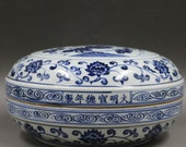 Fine Chinese Antique Old Ming Dynasty Xuan De Emperor 明代宣德 Blue White Porcelain Hand painting Pumpkin Fruit Box