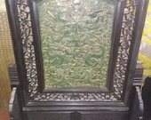 One Brilliant Chinese Antique Oriental Handicraft Old JasperCarved Screen With Dragon Pattern