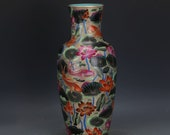 Big Nice Chinese Antique Qing Dynasty Qian Long 清代 Famille Rose Porcelain Fish Vase
