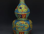 Chinese Antique Old Ming Dynasty Yong Le Emperor 明代永乐 Faffa color Porcelain Hand painting Dragon Phoenix Calabash Vase