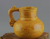 Fine Old Chinese Antique Ming Dynasty 大明弘治 Yellow Glazed Two Porcelain Teapot