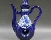 Fine Old Chinese Antique Ming Dynasty 大明宣德 Blue Glazed Porcelain Fish Teapot