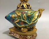 Beautiful old Chinese Antique Qing Dynasty Qian Long 清代 Bronze Gilding Colour Enamels Teapot