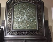 One Charming Chinese Antique Oriental Handicraft Old Jasper Carved Screen With Dragon Pattern