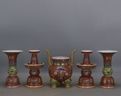 A Set Nice Chinese Antique Qing Dynasty Qian Long 清代 Famille Rose Porcelain candlestick