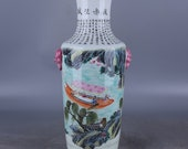 Fine Beautiful Chinese Antique Old Qing Dynasty Yong Zheng Emperor 清代雍正 Famille Rose Porcelain Hand painting Figure Vase