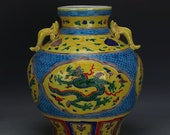 Chinese Antique Old Ming Dynasty Yong Le Emperor 明代永乐 Faffa color Porcelain Hand painting Dragon Phoenix Pot