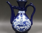 Beautiful Old Chinese Antique Ming Dynasty 大明宣德 Blue Glazed Porcelain Figure Teapot