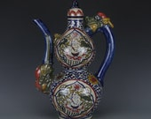 Nice Old Chinese Antique Yuan Dynasty 元代 Five Colours Porcelain boy Teapot