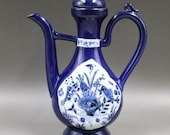 Beautiful Old Chinese Antique Ming Dynasty 大明宣德 Blue Glazed Porcelain Fish Teapot