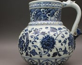 Delicate Old Chinese Antique Ming Dynasty Xuan De 明代宣德 Blue White Porcelain Flowers Plants Teapot