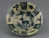 Great Chinese Antique Blue White Porcelain Deer Plate