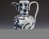 Beautiful Chinese Antique Old Ming Dynasty Xuan De Emperor 明代宣德 Blue White Porcelain Dragon Teapot