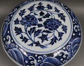 Nice Chinese Antique Old Ming Dynasty Xuan De Emperor 明代宣德 Blue White Porcelain Hand painting Flowers Plants Fruit Box