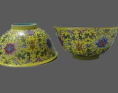 Rare Unique Chinese Antique Pair of Da Qing YongZheng Dynasty Famille-Rose Porcelain Bowl With Flowers Plants