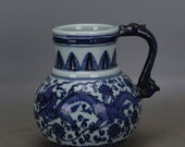 Nice Chinese Antique Old Ming Dynasty Xuan De 明代宣德 Blue White Porcelain Dragon Teapot